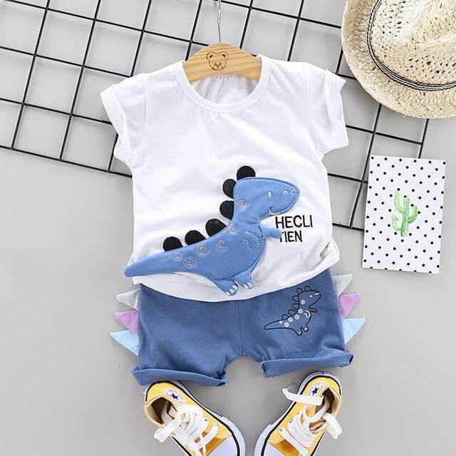 Dinosaur Baby Boys Clothes Short Sleeve Print T-Shirt+cartoon Shorts Children Casual Outfits Kids Clothes Sets By Ropalia Store.