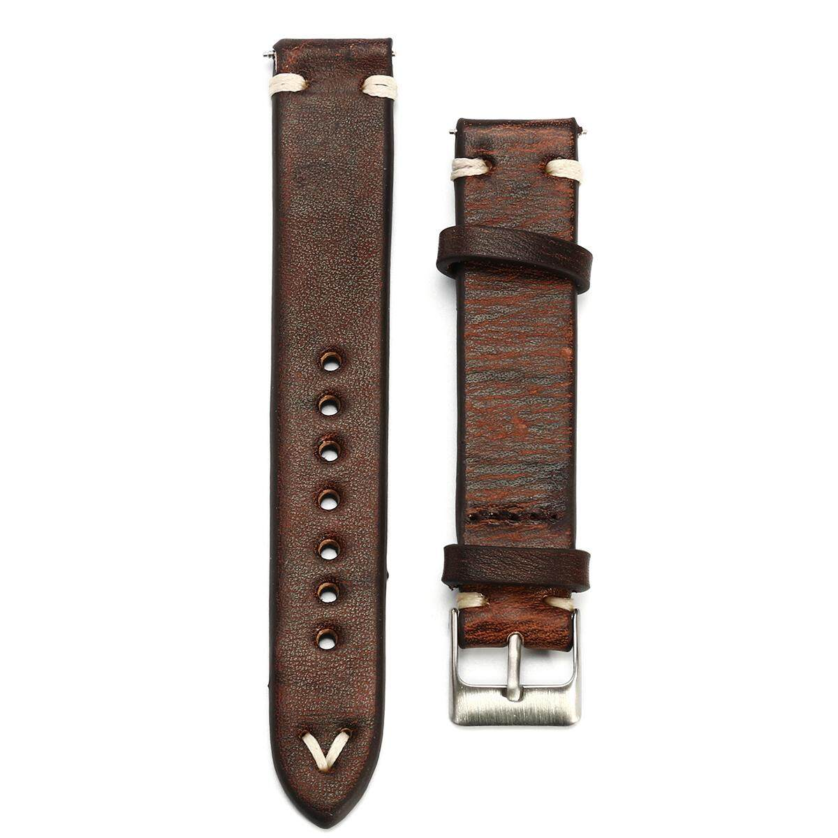 Straps Vintage Style Distressed Leather Wome/Men Watch Band Strap with Stitching [ 22mm ] Malaysia