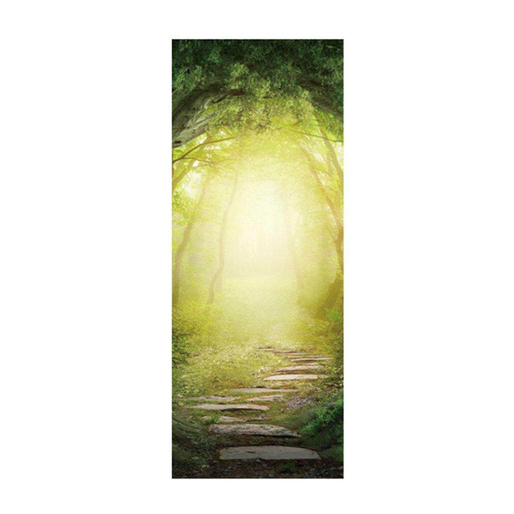 Crazy Sale Wallpaper Forest Trail 3D Stereo Door Artificial Wood Door Stickers Decoration