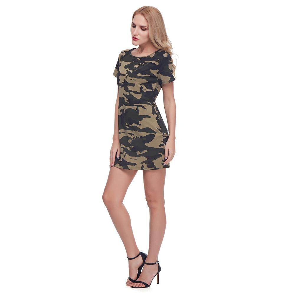68bae2cbbf Gamiss Women's Military Camouflage Short Sleeve Tunic T-Shirt Dress M