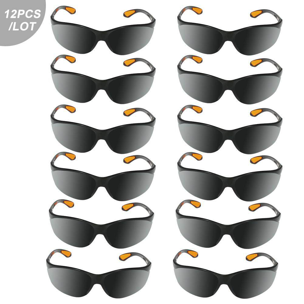 12pcs/pack Eye Protective Safety Glasses Goggles Polycarbonate Anti-impact Anti-dust Spectacles for Factory Lab Outdoor Work