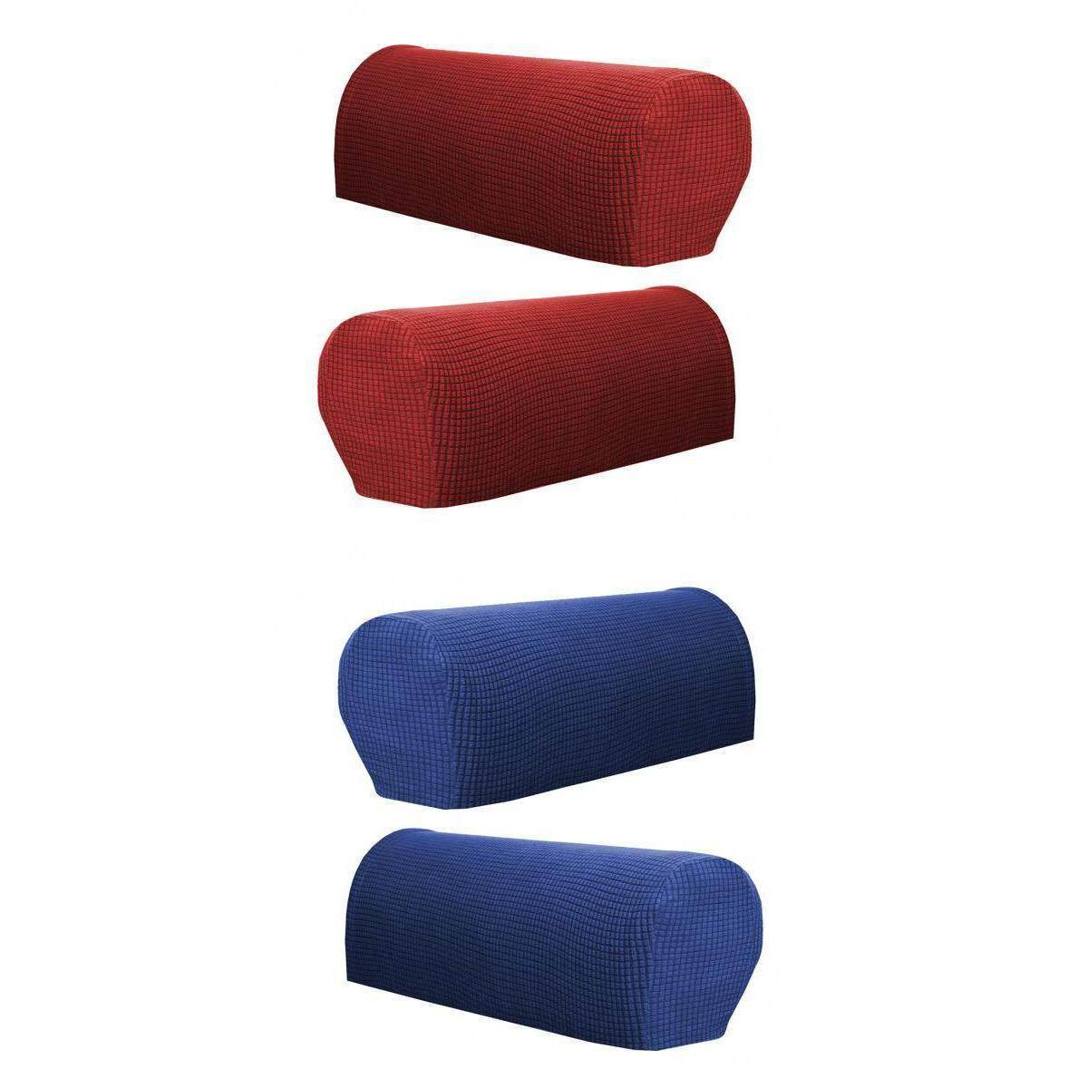 Fityle 2 Pair (Red &Blue) Sofa Arm Protectors Armrest Covers Stretch Anti-slip