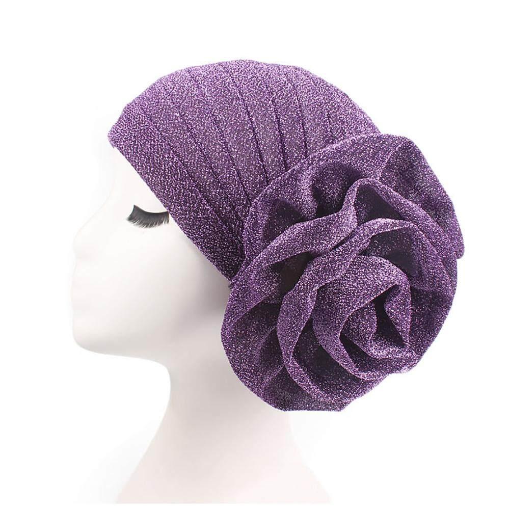 Sanwood®Fashion Bunga Besar Glitter Topi Sorban Muslim India Cap Bungkus Kepala Wanita Hiasan Kepala
