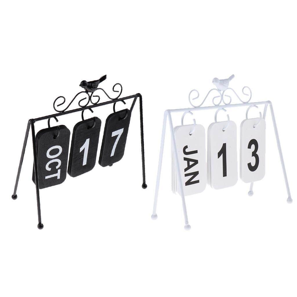 BolehDeals 2xBird Art Flip Calendar Home Ornament Office Desktop Decoration Black+White