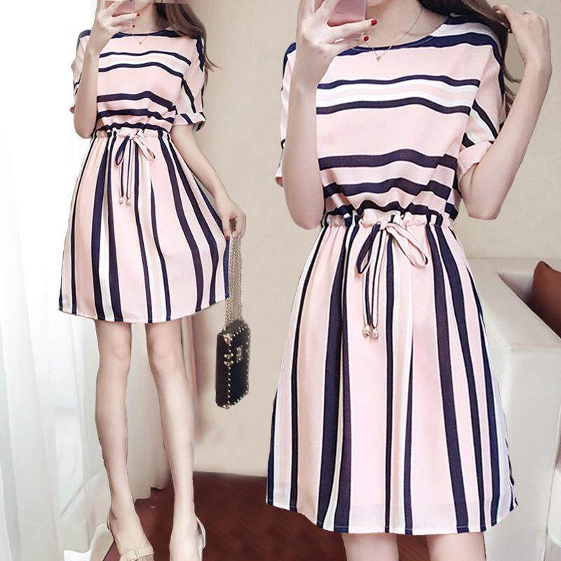 4d9d9c93e17 SZWL Fashion Women Dress Summer Stripe Printing Lacing Short Sleeve Dress  for Women Summer Wear