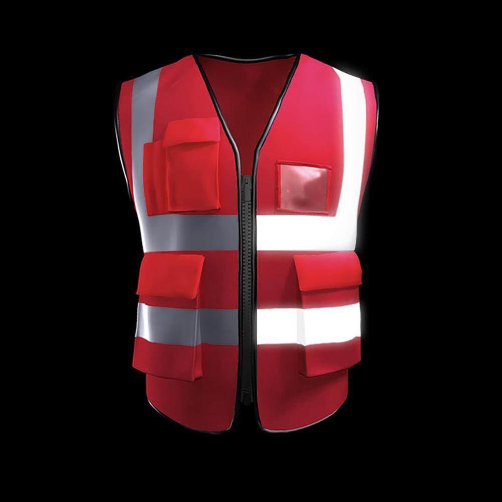LightSmile High Visibility Reflective Safety Vest Work Vest Multi Pockets Reflective Strips Workwear Security Men Women
