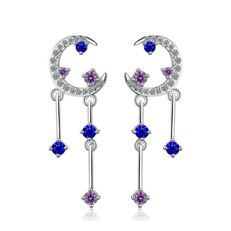 Women Fashion Earrings Stud Solid 925 Sterling Silver Jewelry Moon Star Ladys Stud Earrings By Danki.