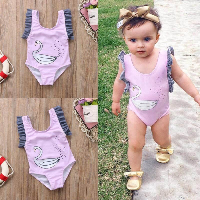 458ad57a5df6b Newborn Kids Baby Girls Swan Swimwear Swimsuit Clothes Bathing Suit  One-piece