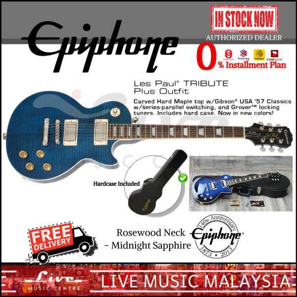 Epiphone Les Paul Tribute Plus 60s Outfit Electric Guitar With Hardcase - Rosewood Neck, Midnight  Sapphire Malaysia