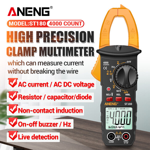 [Malaysia Ready Stock] [Quality Assurance] ST180 Digital Clamp AC Ammeter 4000 Count Multimeter Ammeter Voltage Tester True RMS Voltage Meter NCV Test Universal Meter Tester AC / DC Current Clamp Tester Measuring Relative Value Capacitance Frequency