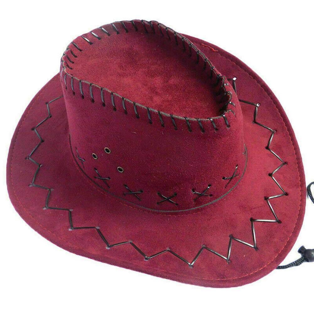 Unisex Men Women Retro Western Cowboy Hat Leather Belt Wide Brim Cap Riding  Hat