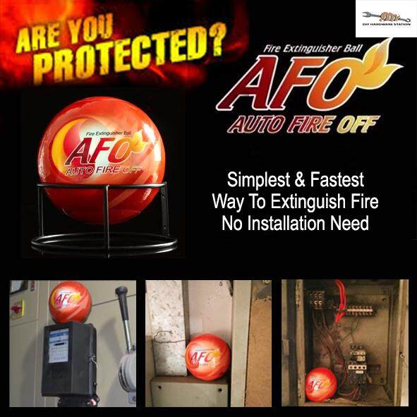 DIYHARDWARESTATION - AFO Automatic Fire Ball, ABC Fire Extinguisher, Fire Suppression Device, Fire Safety Product with Sign (IS 1.5KG NOT 0.5KG)