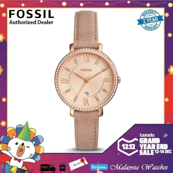 Free Shipping Fossil Womens ES4292 Jacqueloine Three-Hand Date Sand Leather Watch (Light Brown) Malaysia