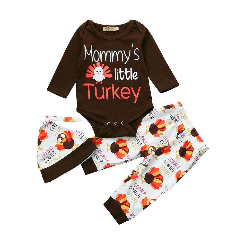 2734ee617f27 Newborn Infant Baby Boy Letter Romper Tops+Pants+Hat Thanksgiving Outfits  Set - intl