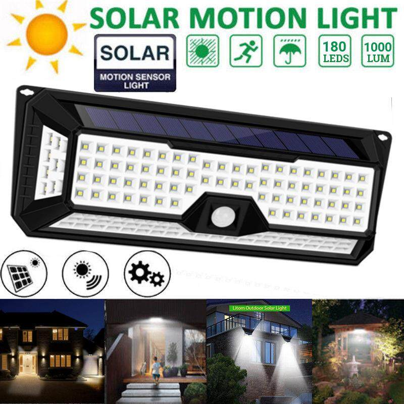 Solar Power PIR Motion 180LED 4Side 3 Modes Sensor Wall Light Waterproof Outdoor Garden Street Lamp 1000LM White