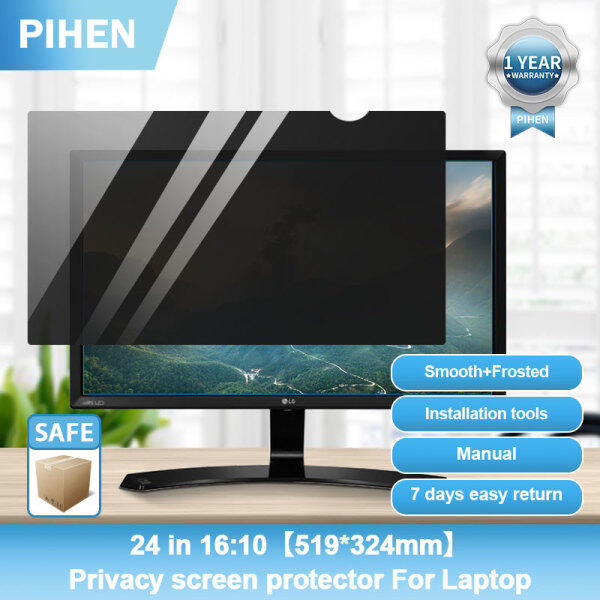 【Best Value】PIHEN 24 inch 16:10 PC Privacy Screen Protector Computer Privacy Screen Filter Anti-Glare(519*324mm)With Manual Installation Tools