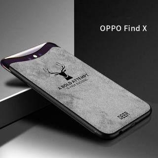 Cho [OPPO Find X] Ốp Lưng Họa Tiết Nai Sừng Tấm Dệt Vải Bạt Mềm Hình Hươu Cổ Điển thumbnail