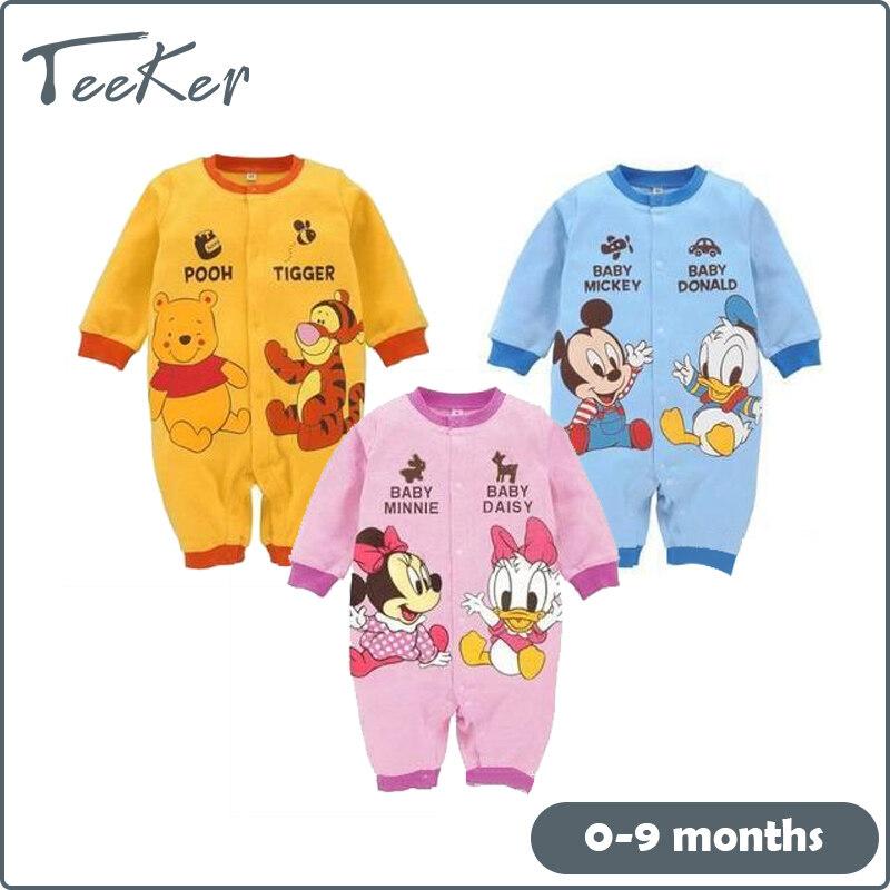 【Teeker】Baby เด็กเสื้อผ้าการ์ตูนลูกหมีเสือลิงเป็ดสัตว์ผ้าฝ้ายแขนยาว Jumpsuit ชุดนอน0-2ปี