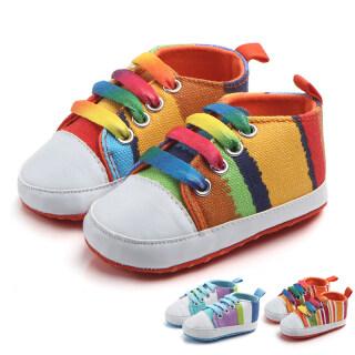 Đầy Màu Sắc Bé Giày Vải Sọc Sơ Sinh Girl Boy Giày Cho Trẻ Em Mùa Xuân Mùa Thu Mềm Duy Nhất Không Trượt Trẻ Sơ Sinh Toddler First Walkers thumbnail
