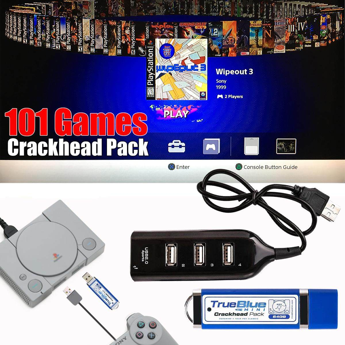True Blue Mini Crackhead Pack 101 Games For PlayStation Classic Game Accessories