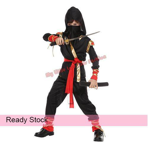 Kids Halloween Ninja Boy Cosplay Costume 4-8y toys for girls