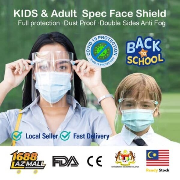 [Malaysia Ready Stock] 4pcs One Pack Transparent Face Shield Protective Mask  with glasses cover Cooking Protector Face Shield 4pcs镜防护面罩 (Adult & Children size)
