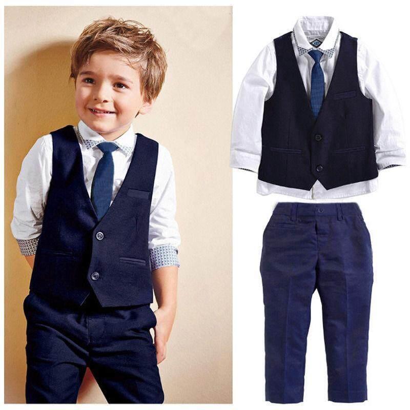 4pcs เด็กทารกเด็กเสื้อกั๊ก + Tie + เสื้อ + กางเกงชุดเสื้อผ้าสุภาพบุรุษชุดสูท