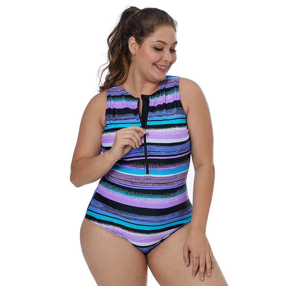 e6f5a240ccefc Purplish Multi Striped Zip Front One Piece Swimsuit No underwire but  removable bra paddings