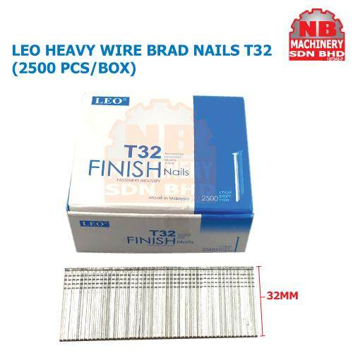 LEO (2500pcs/Box)T32/T38/T45/T50 Heavy Wire Brad Nail, Straight Nail Wood working Furniture Finishing For Air Nailer