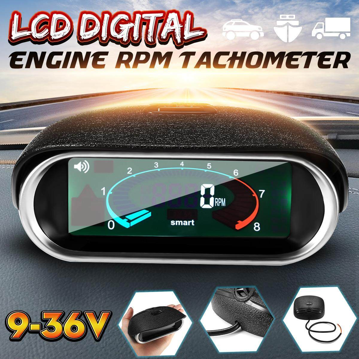 【free Shipping + Flash Deal】12v Universal Car Lcd 50-9999rpm Tachometer Digital Engine Tach Gauge Boat Truck By Haldis.