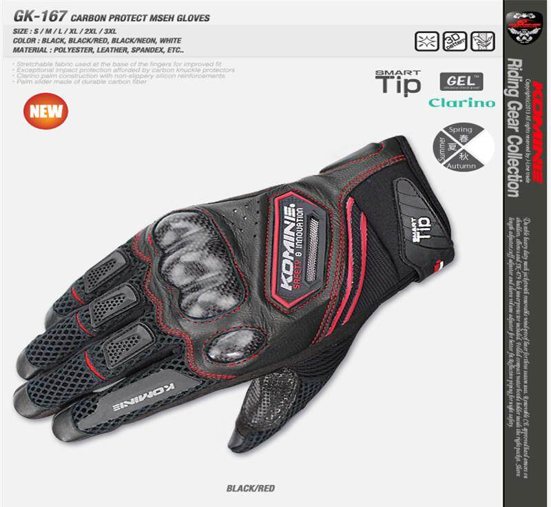 Komine GK-167 Summer Knight Gloves / Mesh / Breathable / Touch Screen /  Motorcycle Riding Racing Gloves
