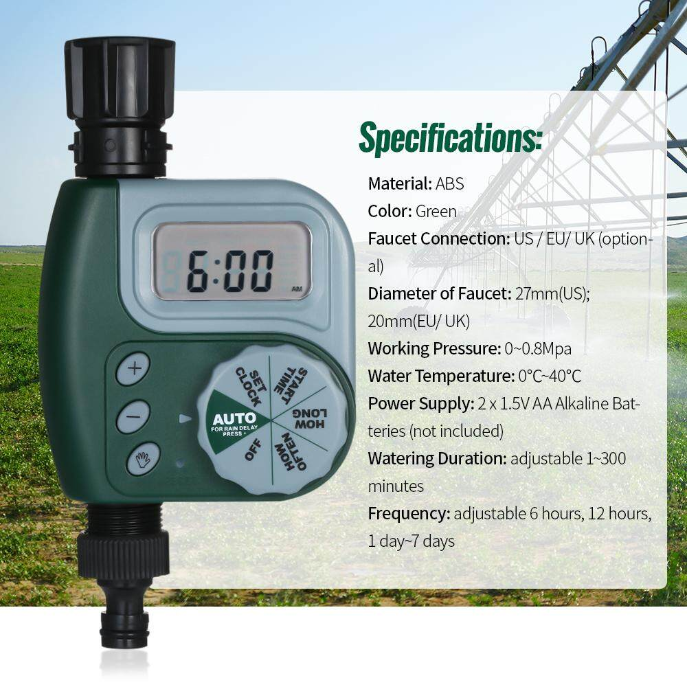Automatic Water Timer Outdoor Garden Irrigation Controller 1-Outlet Programmable Hose Faucet Timer Garden Automatic Watering Device Green US Plug