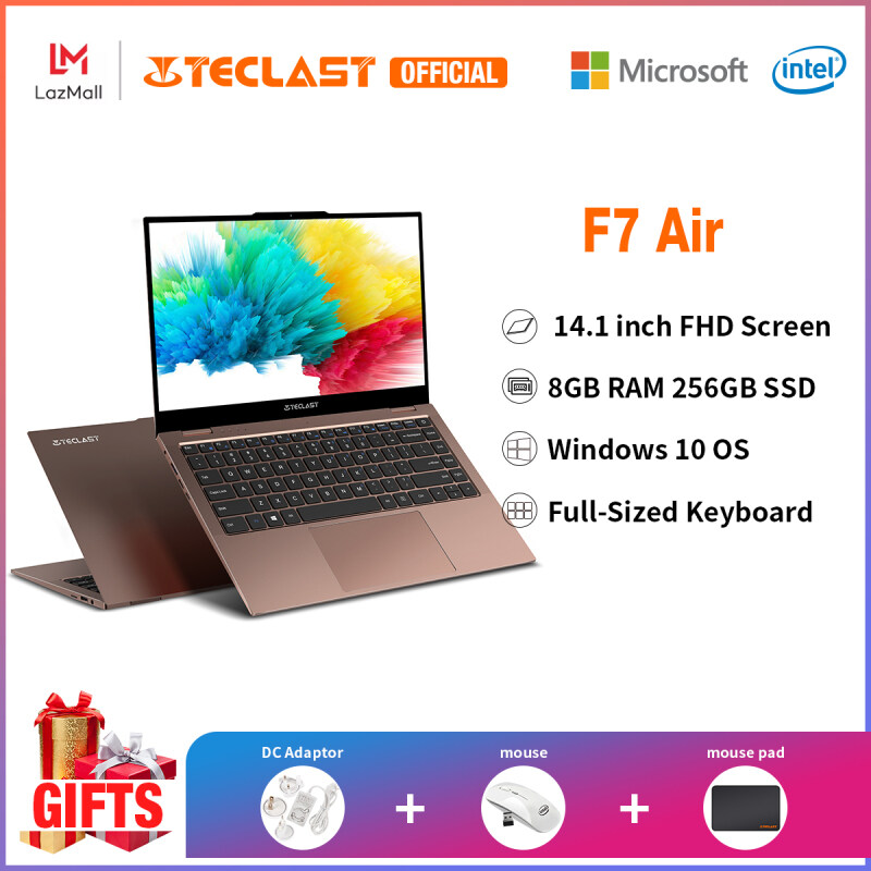 【2021 NEW】 Teclast Official F7 Air 14 Inch Laptop| 8GB RAM DDR4 256GB SSD|Genunie Windows 10 | Intel Celeron Processor N4120 | |Traditional Notebook| IPS Screen |Online Learning| Computer PC |1 Year Warranty|Online Learning|Free Shipping Malaysia