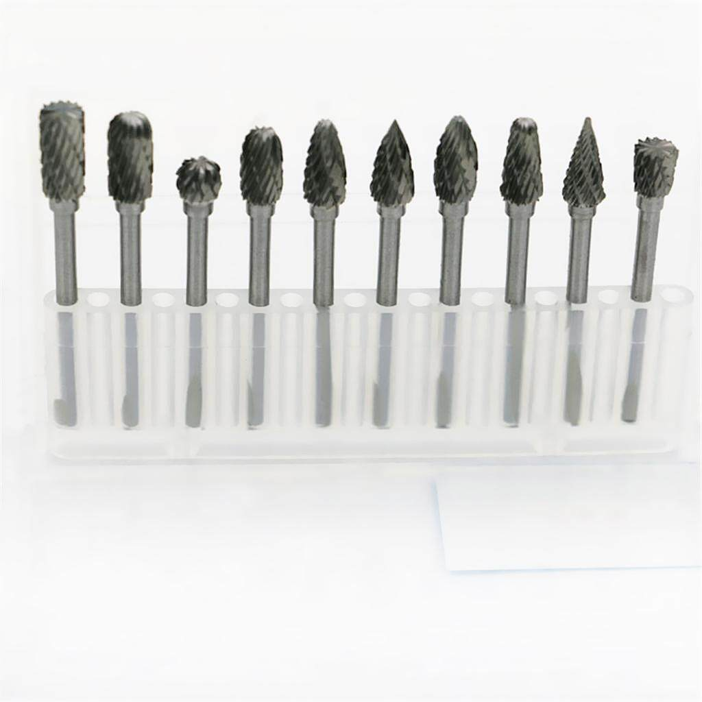 Blesiya 10Pieces Tungsten Steel Carbide Burs Rotary Tool Drill Carving Bit 3*6mm Set