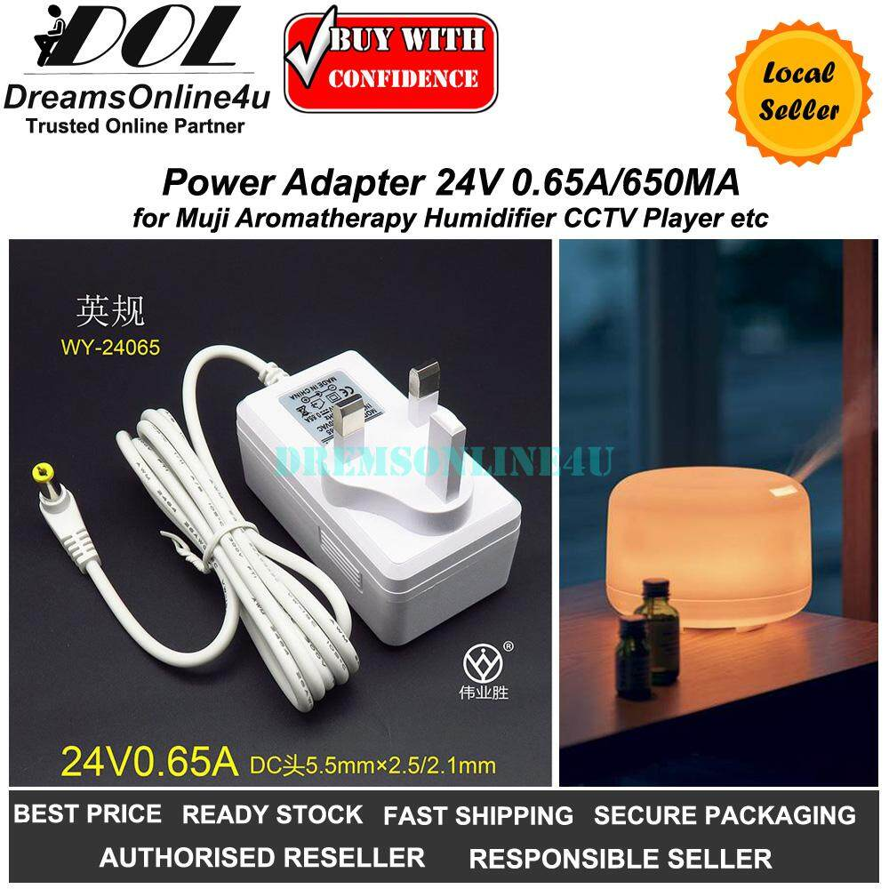 Replacement Power Adapter for Muji Aroma Diffuser Humidifier 24V 0.65A 650mA UK Plug L Shape Pin Design