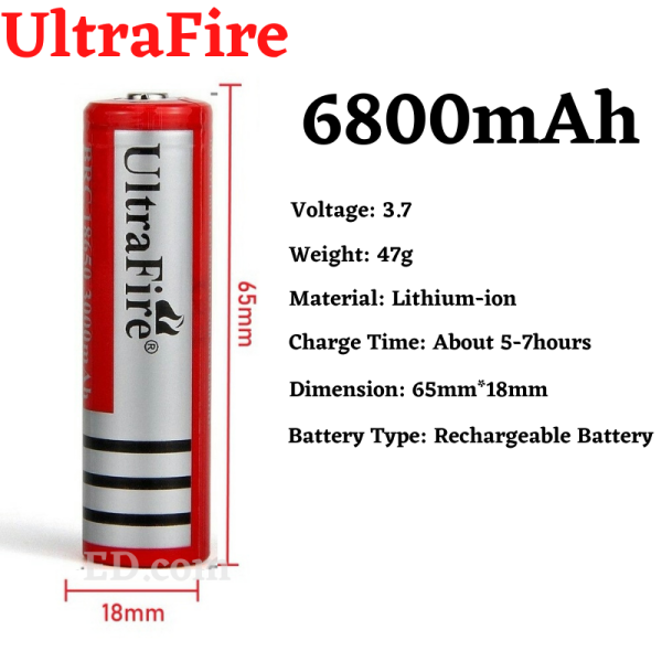 ED 1Pcs 3.7V 18650 UltraFire 6800mAH Button Top Rechargeable Lithium Ion Battery