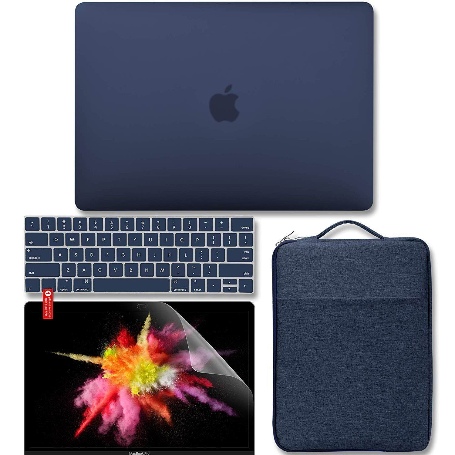 New MacBook Pro 13 inch Case Touch Bar A1989 / A1706 / A1708 2016, 2017, 2018 Release 4 in 1 Bundle, Hard Matte Case, Carrying Sleeve Bag, Keyboard Cover & Screen Protector – Peony blue