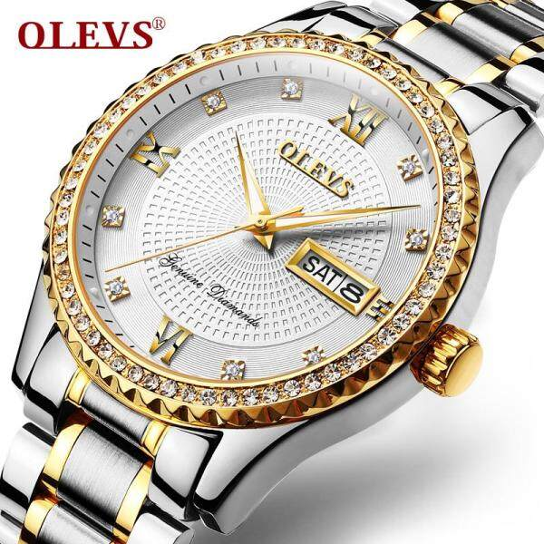 OLEVS jam tangan lelaki Men Watch with Stainless Steel Band Classic Waterproof Watches Roman Numeral Unique Calendar Date Window Wristwatch Malaysia