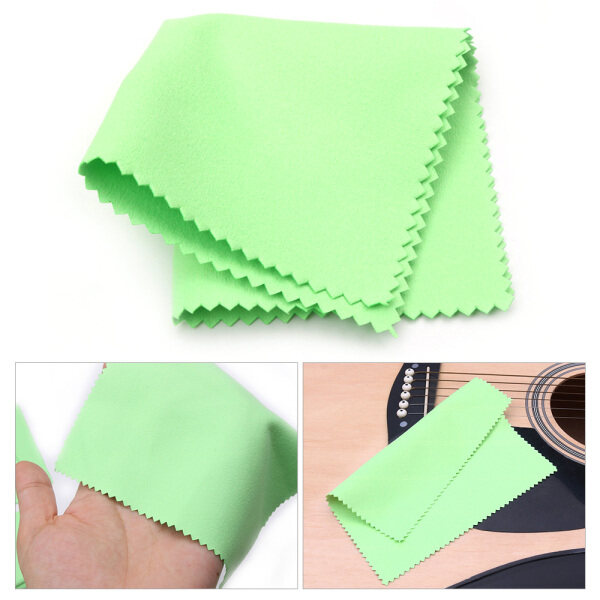 Musical Instruments Cleaning Polishing Cloth 15cmx15cm Size Double-Sided Soft Microfiber Cloth Musical Instrument Accessories for Guitar Bass Violin Piano Green Malaysia