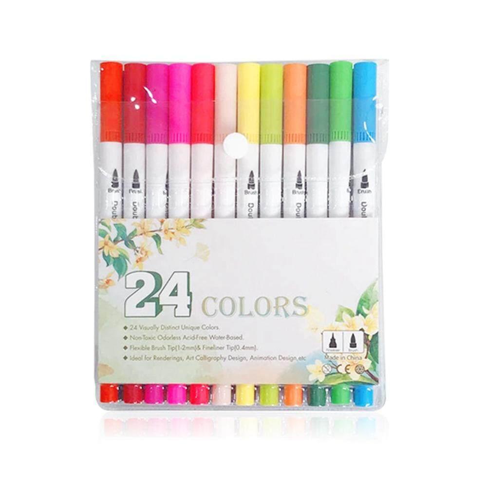 Etersummer Multi-Warna Dual Tip Pena Spidol, Sikat Cat Air Pena dengan Fineliner Tip 0.4 untuk Mewarnai Seni, membuat Sketsa, Lukisan, Menggambar Desain