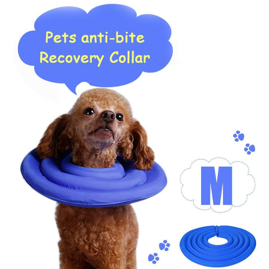 Protective Elizabethan Collar Dogs Cats Soft Pet Recovery E-Collar Adjustable Dog Collar Blue & M Size - Kwy12 By East Ear Living House.