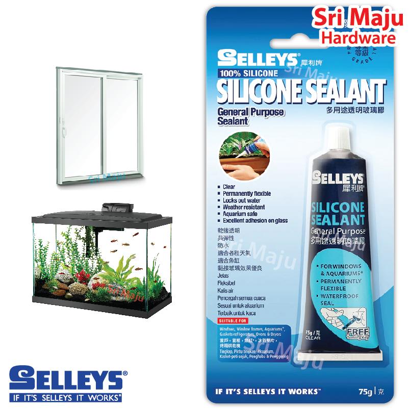 MAJU Selleys Silicone Sealant 75g Clear Silicon General Purpose Glass Aquarium Fish Tank Wood Door Window Seal Silikon