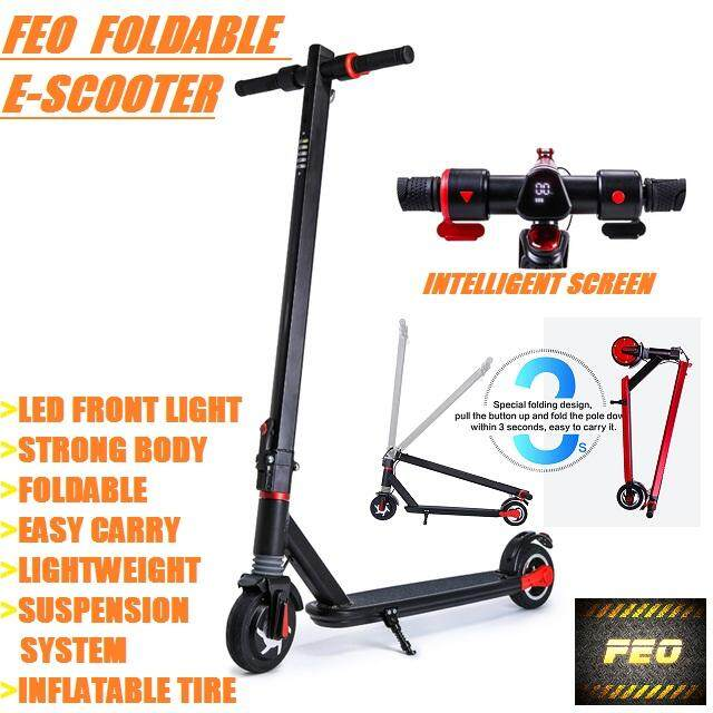 Feo Electric Scooter Foldable E-Scooter Lightweight Wt Led Light Suspension 6 Inch By Feo.