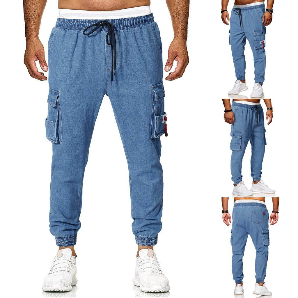 18b5f0eec598 Mobilone Fashion Men s Casual Jeans Destroyed Denim Knee Length Hole Ripped  Pants