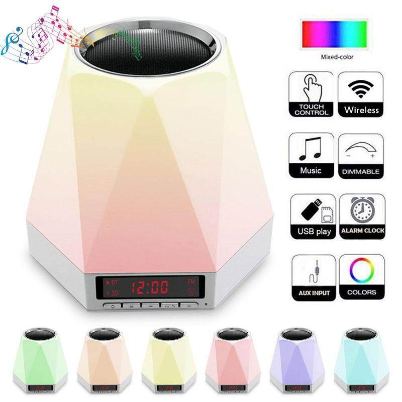 niceEshop Wireless Bluetooth Speaker Night Light With Alarm Clock,Bedside Lamp Table Light Color Changing Wireless Speaker USB AUX MP3 Player Singapore