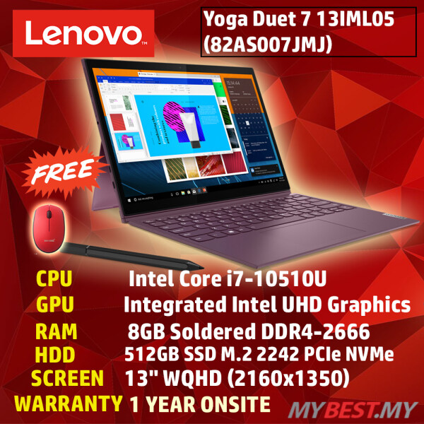 LENOVO YOGA DUET 7 13IML05 82AS007JMJ LAPTOP (I7-10510U,8GB,256GB SSD,13.3 FHD,UHD GRAPHICS,WIN10) Malaysia