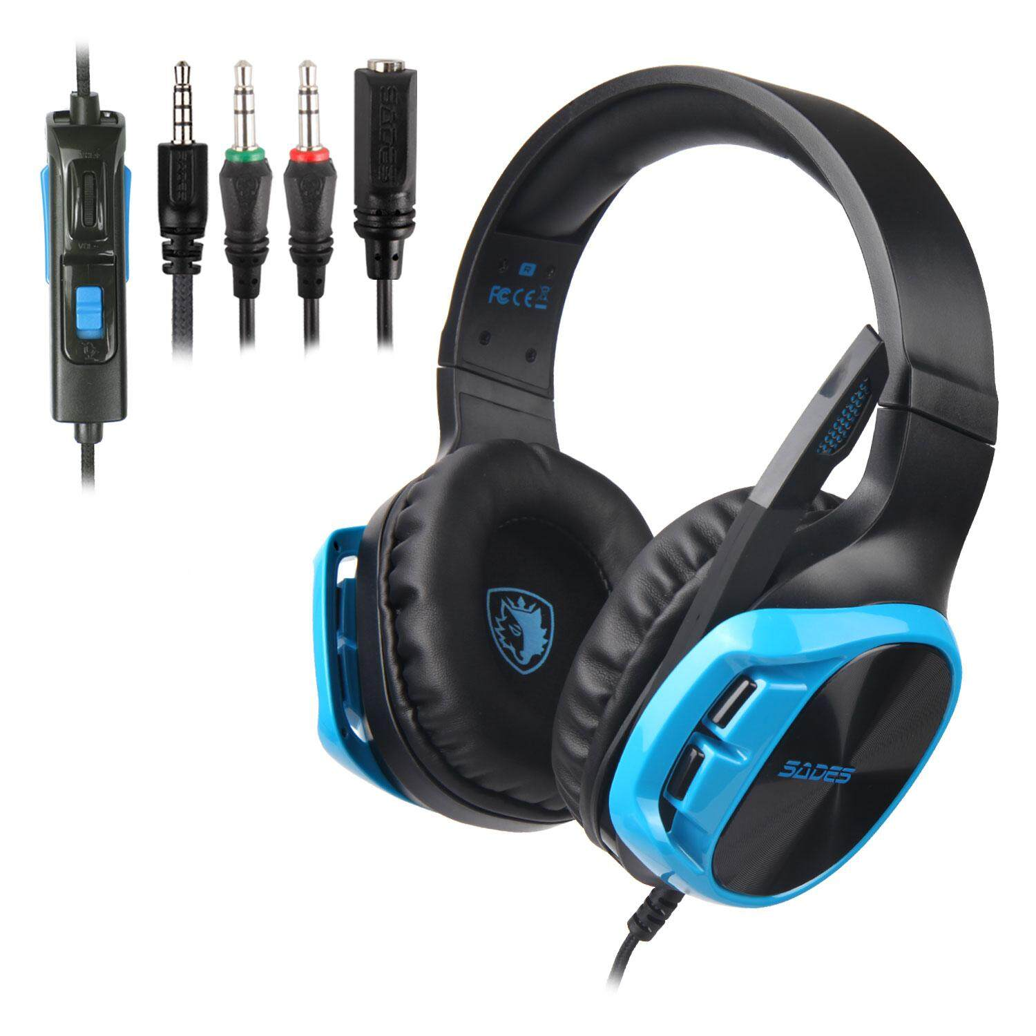 SADES Asli R17 PS4 Headset Game PC Stereo Gamer Alat Bas Headphone Earphone dengan Mikrofon untuk Ponsel Pintar Baru Xbox One Komputer Tablet Laptop