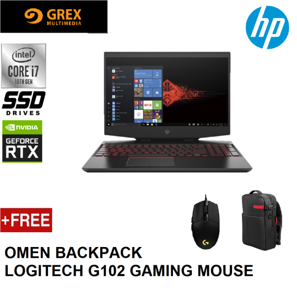 HP OMEN 15-DH1067TX GAMING LAPTOP (I7-10750H,8GB,1TB SSD,15.6 FHD 300Hz,RTX2070 8GB,WIN10) FREE OMEN BACKPACK + LOGITECH G102 GAMING MOUSE Malaysia