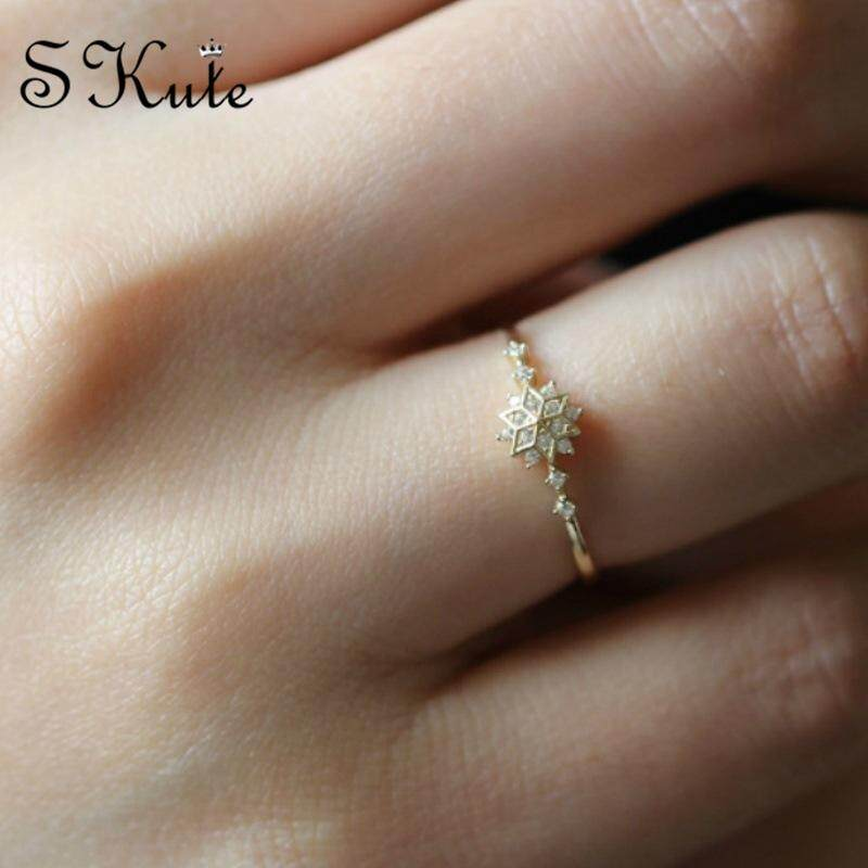 ❤skute Jewelry Fancy Snowflake Ring Gold Style Cute Big Snow Flake Diamond Simple Wedding Gift Rings By Skute Official Store.