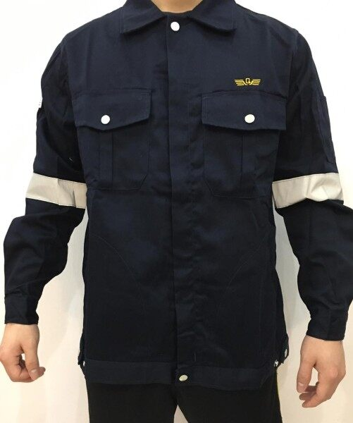 QUEST Safety Reflective Workwear Jacket Navy Blue with Logo